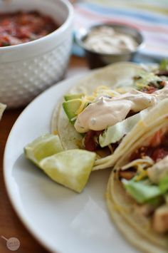 Grilled Chicken Tacos with Creamy Chipotle Sauce {Rubios Copycat}