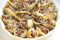 dinner, sausages, bake shell, spinach stuf, food, stuf shell, stuffed shells, pasta, recip