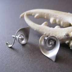 Spiral Sterling Silver Post Earrings  Spiral by Jewellietta