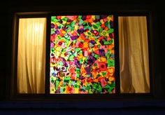 DIY Stained Glass Window. What a great idea.  Another pinner said you can use liquid starch instead of glue for super easy cleanup!