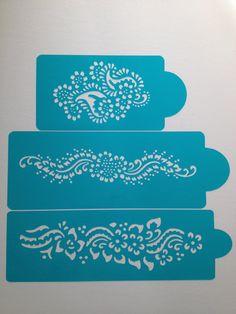 Henna Cake stencils 3  pieces -  cake decorating stencils -cake stencils