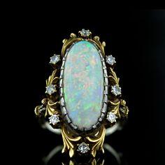 Art Nouveau Opal and Diamond Ring  circa 1900-1910