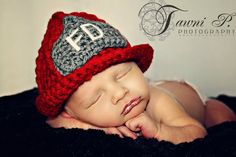 crochet baby | Custom Crochet Firefighters Helmet Baby Hat by CricketCreations