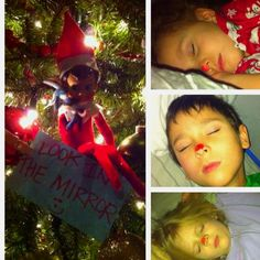 Elf on A Shelf painted kids noses
