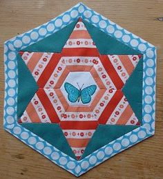 Fussy Cut Paper Pieced Hexagon #Quilt Block by Summerfete