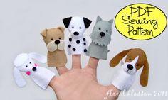 PDF Pattern: Dogs Felt Finger Puppets
