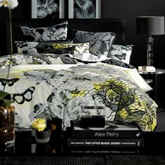 Alex Perry has come to Pillow Talk. Straight off the catwalk, the Calliope range is a lace-inspired design which combines the latest trends in home & fashion. Like a couture gown, the design is layered beautifully with printed pattern and embroidered with butterflies in a 'now' palette of black & white - #PillowTalkHome