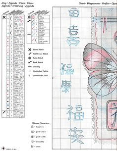 Cross-stitch Oriental Design Butterfly, part 2..  with the color chart