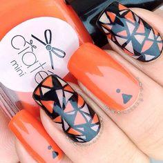 awesome nail art #nail #unhas #unha #nails #unhasdecoradas #nailart #gorgeous #fashion #stylish #lindo #cool #cute #fofo #orange #laranja #preto #black  Instagram photo by nailsbynemo