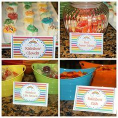 Rainbow pool party foods
