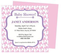 shower invitations, bow inspir, inspir shower, invit templat, babi shower, baby showers
