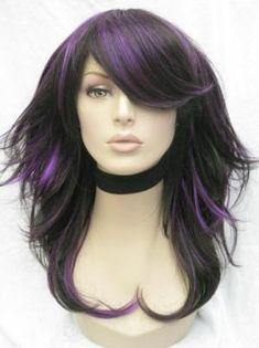 hair down, purpl highlight, purple hair, wig, hair colors, black hair, hair pieces, brown hair, highlights