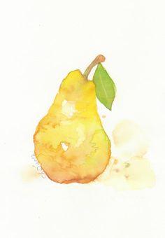 Fruit, fruit art print, art, watercolor painting, watercolor art print, watercolor,Yellow pear---Original watercolor print , No-24. $18.00, via Etsy.