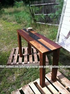 Pallets!  Sofa table