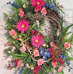 XL Front Door Wreath Bright Gerber Daisies by LadybugWreaths, $169.97