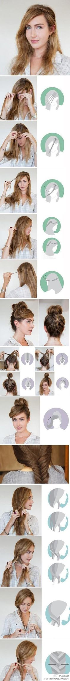 Several ways to wear long hair~step by step photos for fun braids, or an upsweep.