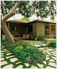 pathway, lawn, small backyards, dog runs, front yards, flagstone patio ideas, stone patios, stepping stones, small yards