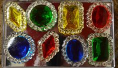 Sapphire, Emerald, Yellow and Ruby Edible Jewels for Cakes Assorted Pack