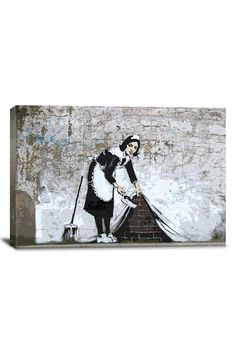 Banksy Maid in London 18in x 12in Canvas Print