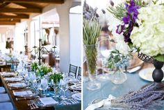 Plantings of herbs such as lavender, mint, basil, and oregano were placed in vintage glassware, mason jars, and bottles topped the dining tables. Amy and Stuart Photography.