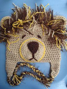 Baby Boy/Girl Crochet Lion Animal Beanie Hat SIZE NEWBORN-12 MONTHS. $25.00, via Etsy.