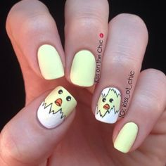 Easter baby chick spring nails