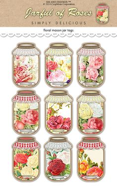 vintage tags printable, jar tag, mason jars, romant rose, rose mason
