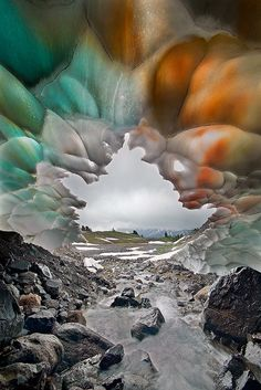 Ice Cave in Mount Rainier National Park, Washington  >>> WOW, that is the coolest thing! I have never seen anything like this in real life but would love to!