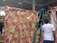 """Wall # 2 almost done - For """" Lilly Pulitzer """" display for Chicago Flower & Garden Show."""