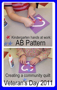 Kindergarten Veteran's Day quilt construction