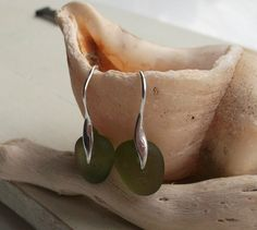 Olive Green Sea Glass Sterling Silver Earrings by SeahamWaves, £15.00