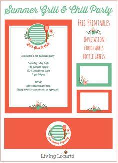 Free Summer Party Printables. Livinglocurto.com