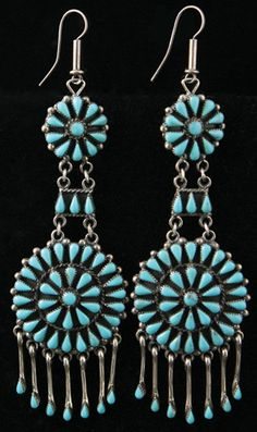 Zuni turquoise petit point and silver earrings c.1960