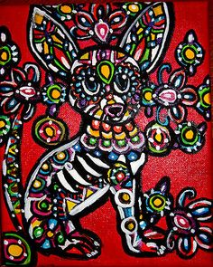 Original Day of The Dead Chihuahua Painting Sugar Skull Tattoo Folk Art   eBay