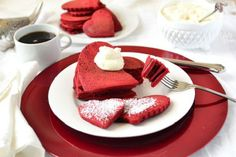 Red Velvet Pancakes with cream cheese frosting! Delicious. http://blog.yummly.com/blog/2014/02/rich-red-velvet-desserts-for-valentines-day/