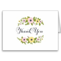 Charming Pink Florals Wedding Thank You Note Greeting Cards