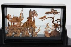 amazing vintage hand carved cork scene  -from vntagequeen on Etsy  $32  #art #sculpture #decor #display