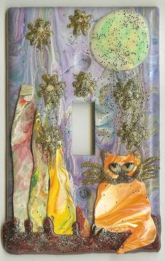 Handpainted  Switchplate  Cat Moon and Stars by wiesbaden49