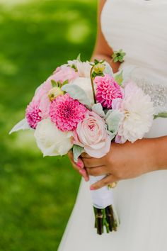 Pink Dahlias + Rose Bouquet. See the wedding on Style Me Pretty: http://www.StyleMePretty.com/michigan-weddings/2014/03/07/bay-harbor-wedding/ Kai Heeringa Photography