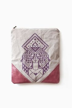 Geometrical+Illusion+Printed++Leather+Pouch+dusty+by+CORIUMI,+$56.00