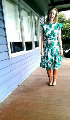 dress refashion, emerald dress