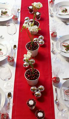 Holiday table decorating