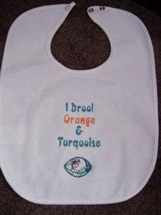 Miami Dolphin Bib Infant Newborn Baby Personalized Embroidered