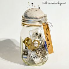 mason jar sewing kit - It All Started With Paint