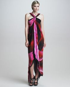 Asymmetric Printed Halter Maxi Dress by Roberto Cavalli