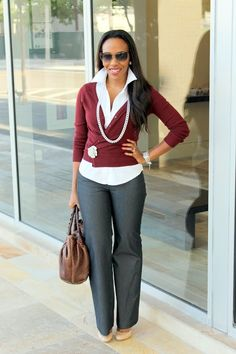 Burgundy cardigan and gray pants layers