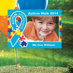 Capture attention for your event with our Autism Awareness Custom Photo Yard Sign - OrientalTrading.com