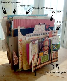 """""""I store my loose paper using old wire file folder and LP album holders. You can pick them up inexpensively at flea markets and garage sales and they're pretty perfect for holding on to 12"""" sheets."""" - Nichola #graphic45 #craftorganization2014"""