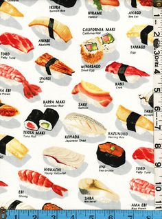 Food themed fabric on pinterest coffee break fruits and for Sushi fish names