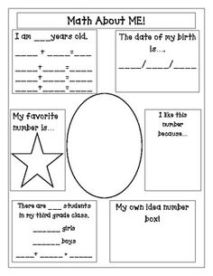 Here's a page for students to write about themselves and what they know about numbers.